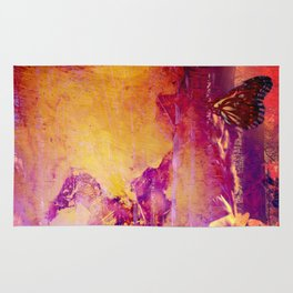 Sunset Butterfly Grunge Rug