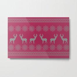 Reindeer Stripes Christmas pattern - red Metal Print