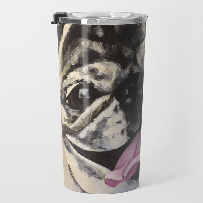 Portrait of Pug on Teal Travel Mug