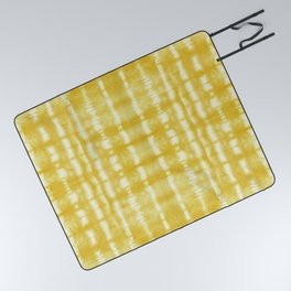 Yellow Itajime Shibori Picnic Blanket
