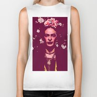 frida Biker Tanks featuring Frida by Marialaura