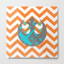 Wraith Squadron and Chevrons in Orange, Gray and Blue Metal Print