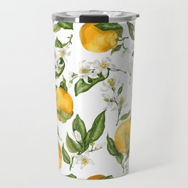 Citrus OrangeTree Branches with Flowers and Fruits Travel Mug