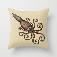 kraken Throw Pillows featuring Kraken by D.J.R.B.