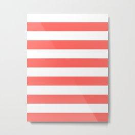 Horizontal Stripes - White and Pastel Red Metal Print