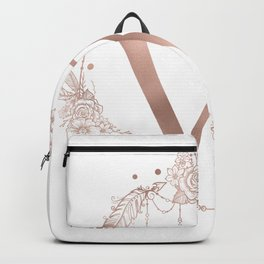 Letter W Rose Gold Pink Initial Monogram Backpack