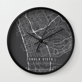 Chula Vista Map, USA - Gray Wall Clock