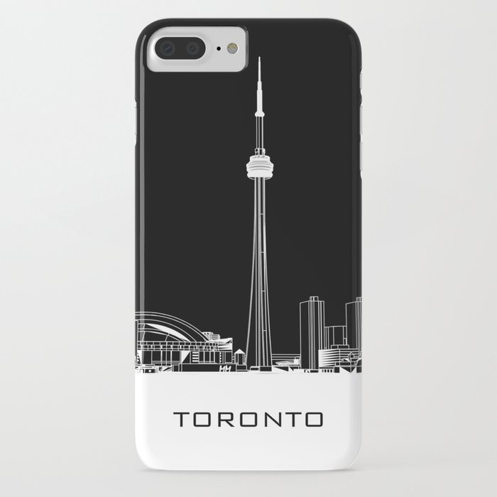Toronto Skyline - White ground / Black Background iPhone Case