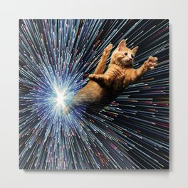 Cat Space vortex in galaxy attack speed of light Metal Print