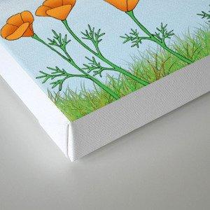robins, poppies, & teddy bears on the line Canvas Print