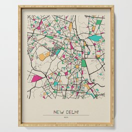 Colorful City Maps: New Delhi, India Serving Tray