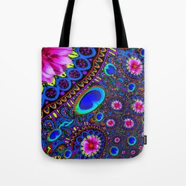 BOHEMIAN BLUE GYPSY PEACOCK FUCHSIA FLORAL Tote Bag