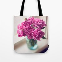 peony Tote Bags featuring Peony by Jenny Ardell