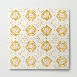Happy Sunshine - yellow art, sunshine, boho art, bohemian, tile, home decor, yellow, yellow art print Metal Print