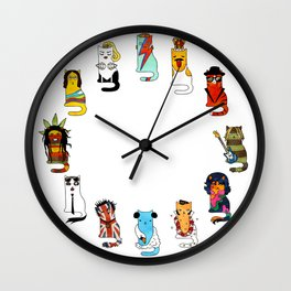 Famous Music Cats – Most Popular Musicians of the World Wall Clock