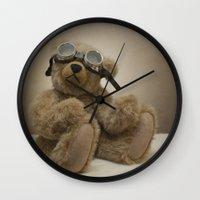 teddy bear Wall Clocks featuring Teddy by Mary Kilbreath