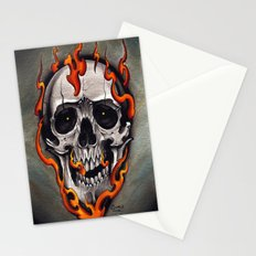 Skull in Flames Stationery Cards