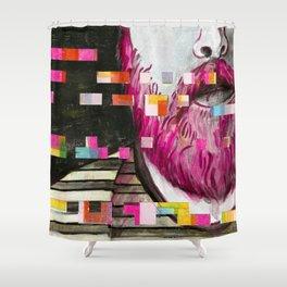 'Daniel' - Glitch Portrait Shower Curtain