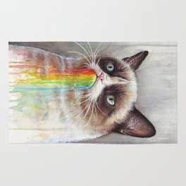 Cat Tastes the Grumpy Rainbow | Watercolor Painting Rug