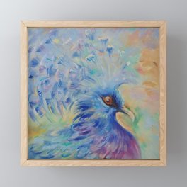 Blue Bird Fancy colorful bird Wildlife illustration Impressionistic painting of nature Framed Mini Art Print