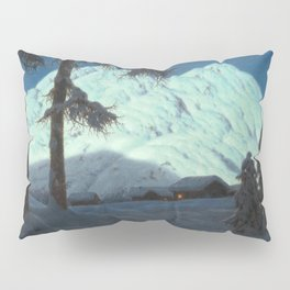 Winter Cabin in the Mountains landscape painting by Ivan Fedorovich Choultsé Pillow Sham