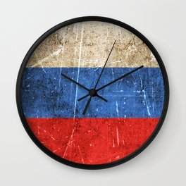 Vintage Aged and Scratched Russian Flag Wall Clock