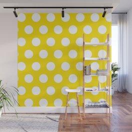 Yellow & White Polka Dots Wall Mural