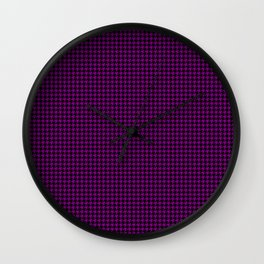 Large Zombie Purple and Black Hell Hounds Tooth Check Wall Clock