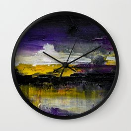 Purple Abstract Landscape Wall Clock