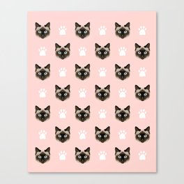 Siamese Cat cute cat paw print pink pastel kids fur baby pet portrait siamese cat owner must have  Canvas Print