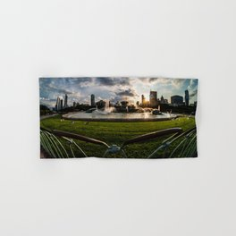 Fisheye view of Chicago's Buckingham Fountain Hand & Bath Towel