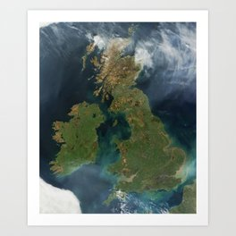 Nearly cloud-free view of Great Britain and Ireland was acquired by the Moderate Resolution Imaging Art Print