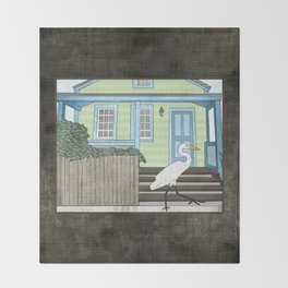 Great Egret and House Throw Blanket