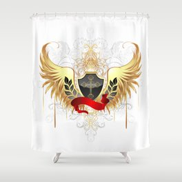 Black shield with golden wings Shower Curtain