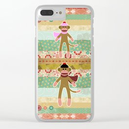 Cute Sock Monkey on Cloth Pattern Clear iPhone Case