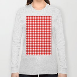 Gingham Red and White Pattern Long Sleeve T-shirt