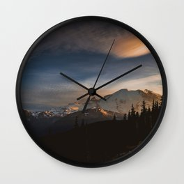 Mount Rainier at Sunset from Sunrise Wall Clock