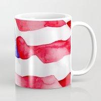 american flag Mugs featuring American Flag by Bridget Davidson