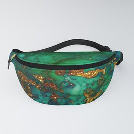 Emerald And Blue Glitter Marble Fanny Pack