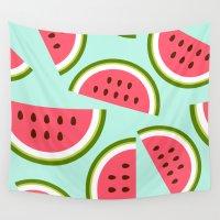 watermelon Wall Tapestries featuring Watermelon by Cute Cute Cute