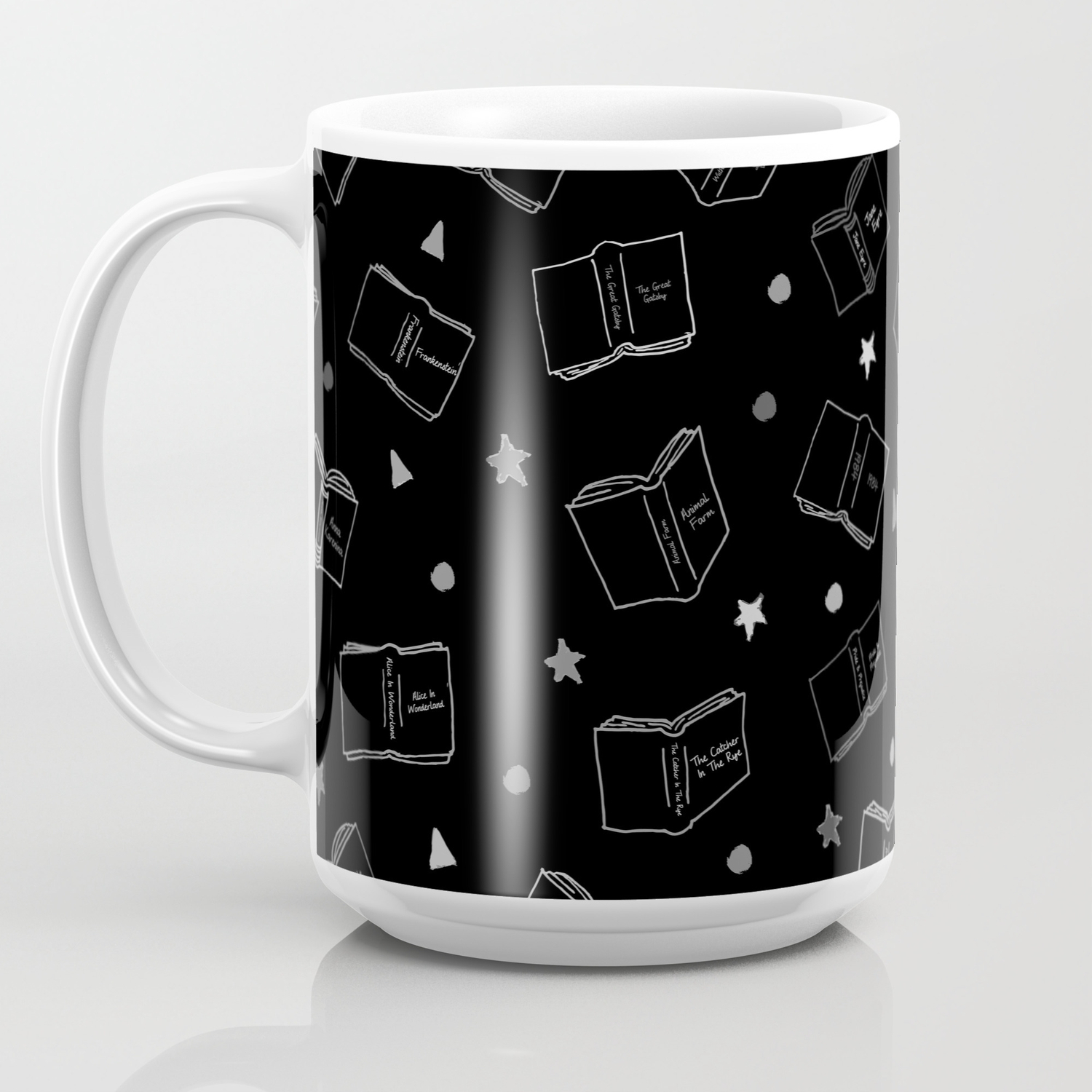 314e9d7e683 Classic Books Black and White Coffee Mug