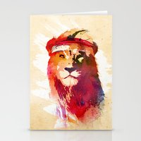 gym Stationery Cards featuring Gym Lion by Robert Farkas