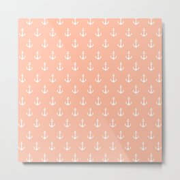 Coral white trendy modern nautical anchor pattern Metal Print