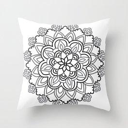 Baesic Handdrawn Black & White Mandala Throw Pillow