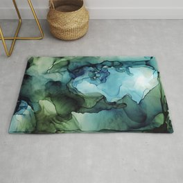 Land and Water Abstract Ink Painting Blues and Greens Rug