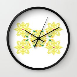 Mexican style flowers Wall Clock