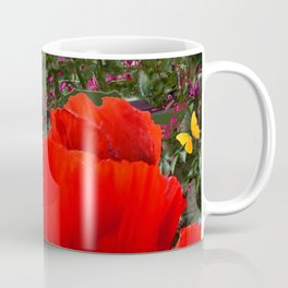 ORANGE ORIENTAL POPPIES & YELLOW BUTTERFLIES Coffee Mug