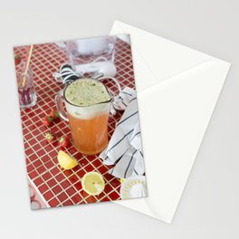 Homemade strawberry basil lemonade Stationery Cards