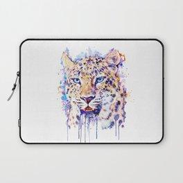 Watercolor Leopard Head Laptop Sleeve