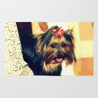 yorkie Area & Throw Rugs featuring D's Yorkie puppy by Irène Sneddon